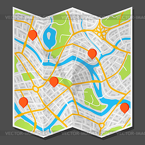 Abstract city map with markers.