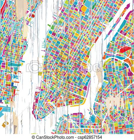 Colourful New York City map.