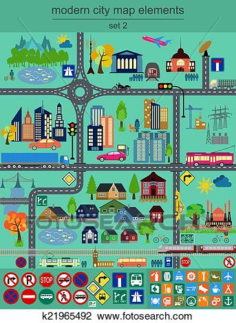 Modern city map elements Clipart.