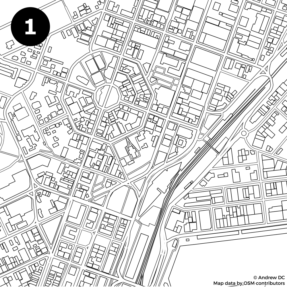 Identify the city from the blank street map: Kiwi Edition!.