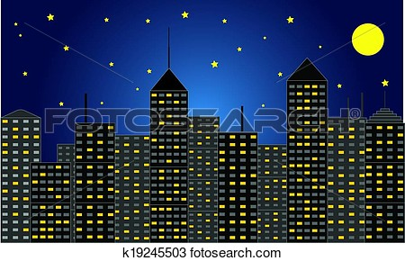 City At Night Clipart.