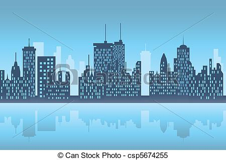 Clipart Vector of City skyscapers at night.