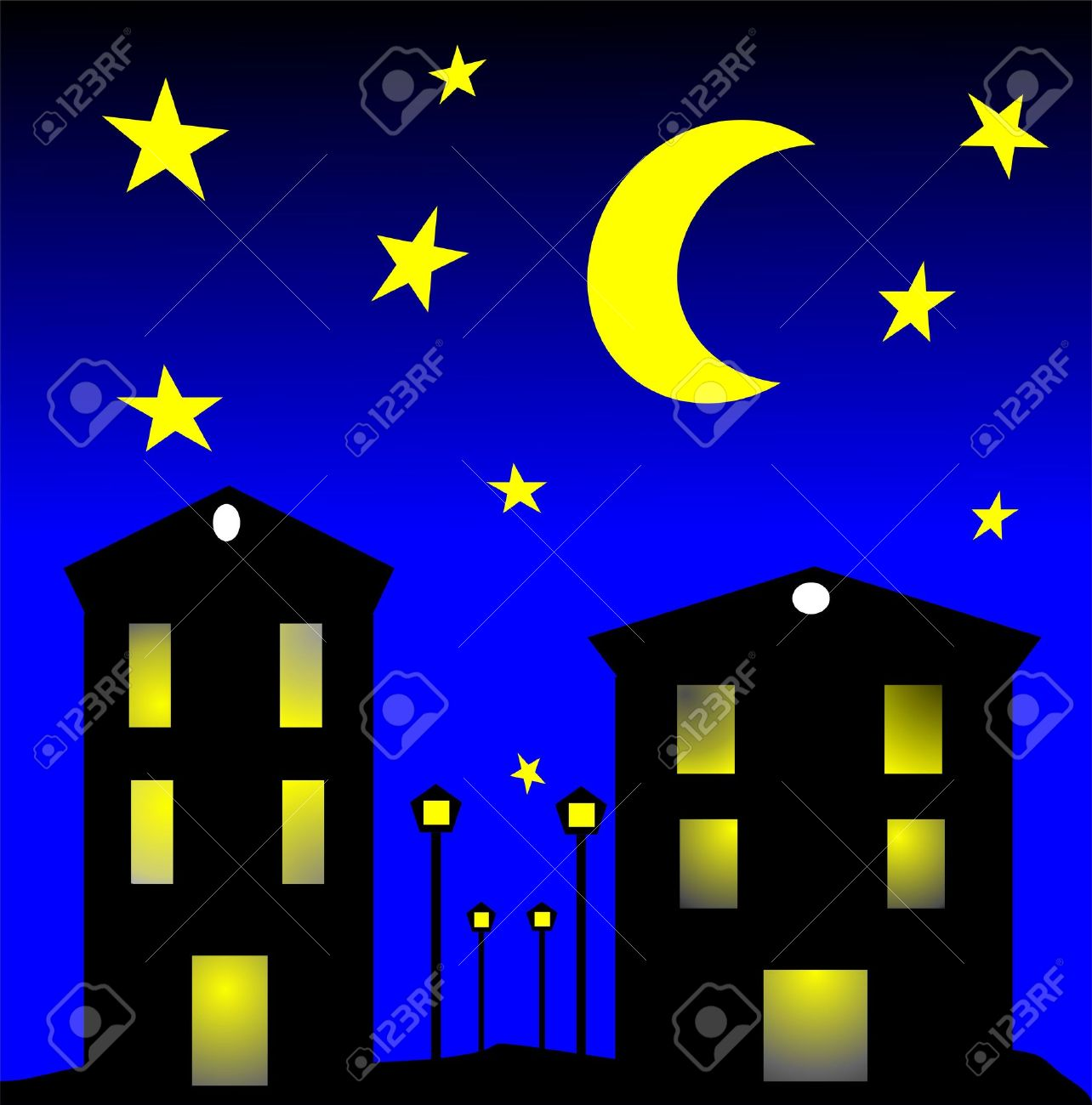 City By Night Clip Art Royalty Free Cliparts, Vectors, And Stock.