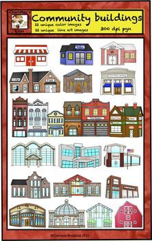 Community Helpers Buildings Clip Art for city and country.