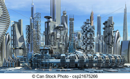 Stock Illustration of Science fiction skyline architectur.