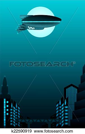 Clip Art of Science fiction poster design. Zeppelin in front of.