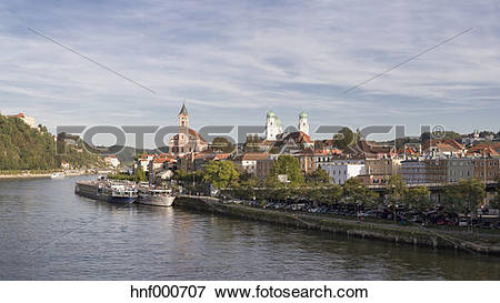 Picture of Germany, Bavaria, Passau, historic city center at River.
