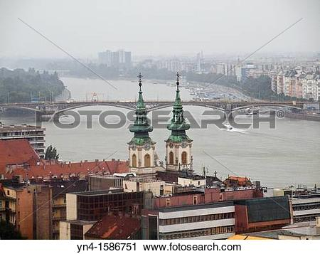 Stock Photography of Budapest in the rain The Danube River.