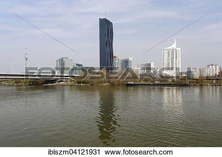 Stock Photography of Donauturm or Danube Tower and Kaisermuhlen.