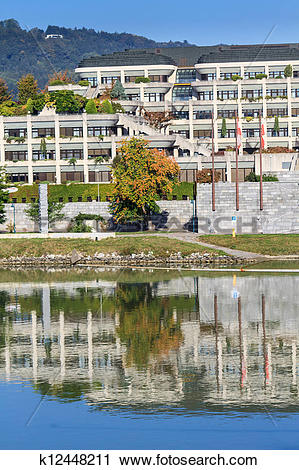 Stock Photography of Linz New City Hall and Danube river, Austria.