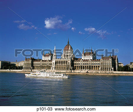 Stock Photo of Hungary, Budapest, cruise ship in front of.