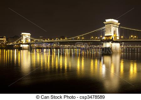 Stock Photographs of Budapest at night, Danube, Bridge, Hungary.
