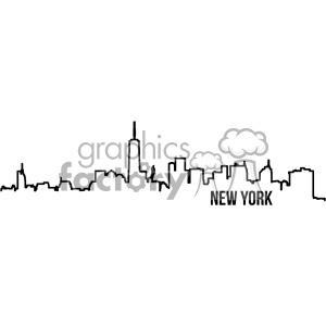 new york city skyline vector art outline clipart. Royalty.