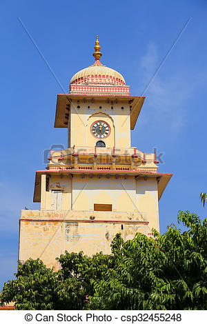 Stock Photo of Clock Tower in City Palace, Jaipur, India. Palace.