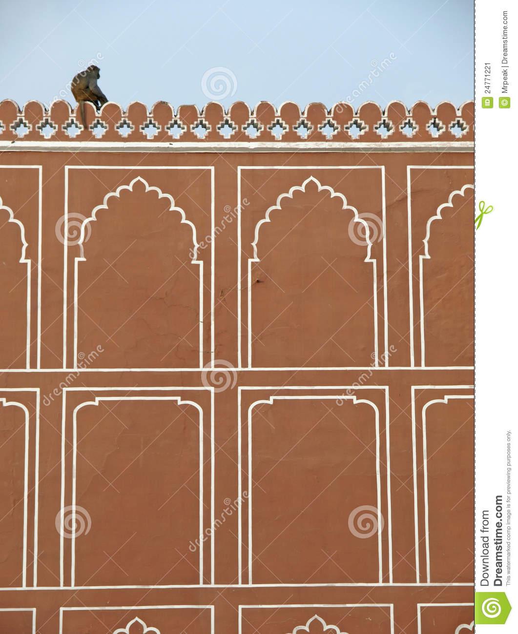 A Monkey On The Wall Of Jaipur City Palace, India Stock Image.