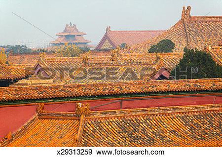 Stock Photograph of China, Beijing, Forbidden City, palace roof.