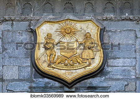 """Stock Photograph of """"Coat of arms of the Maharana of Udaipur and."""