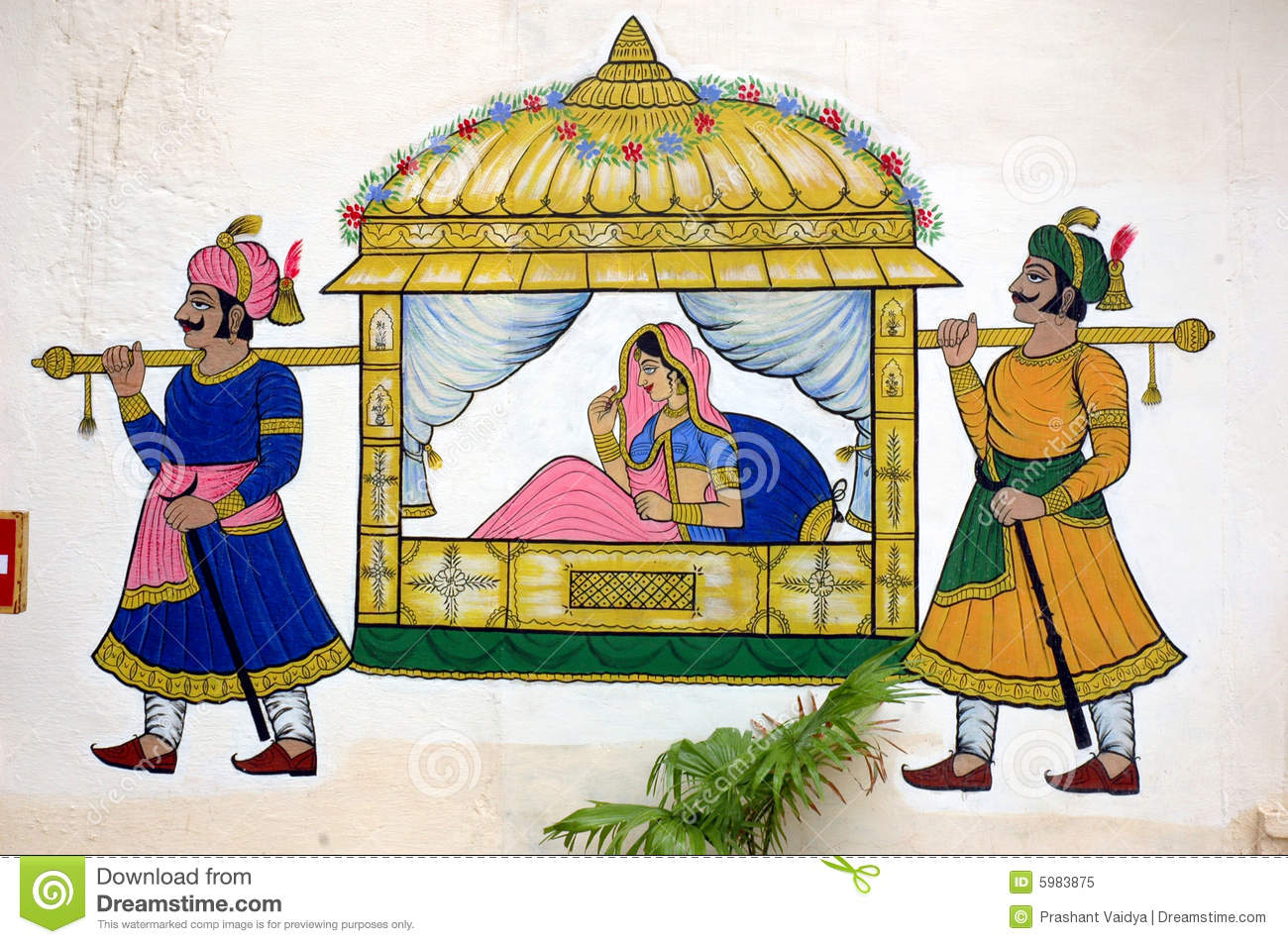 Wall Painting At City Palace, Udaipur Royalty Free Stock Photo.