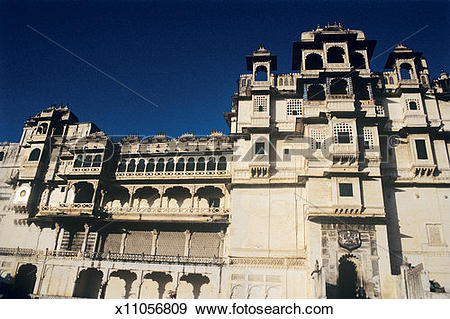 Stock Photograph of India, Rajasthan, Udaipur, City Palace, low.