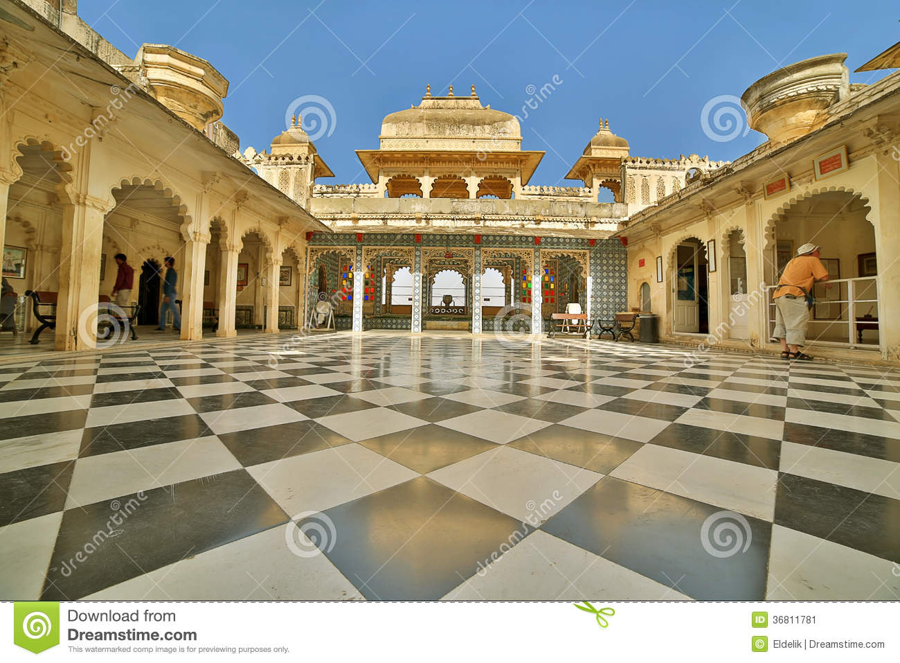 Courtyard At City Palace, Udaipur Editorial Photo.