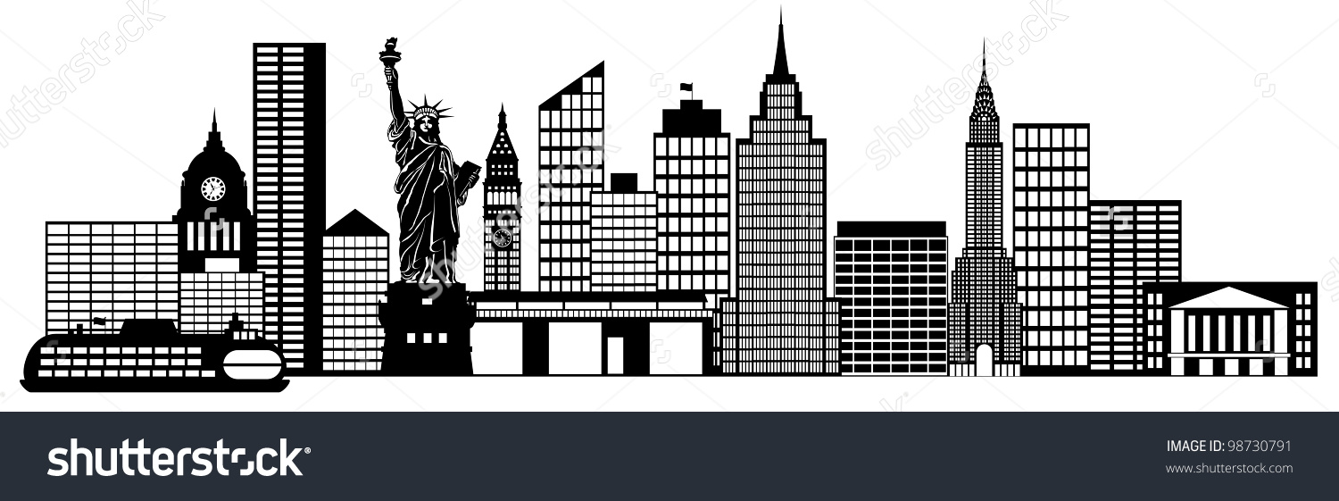 New York City Skyline Panorama Black Stock Illustration 98730791.