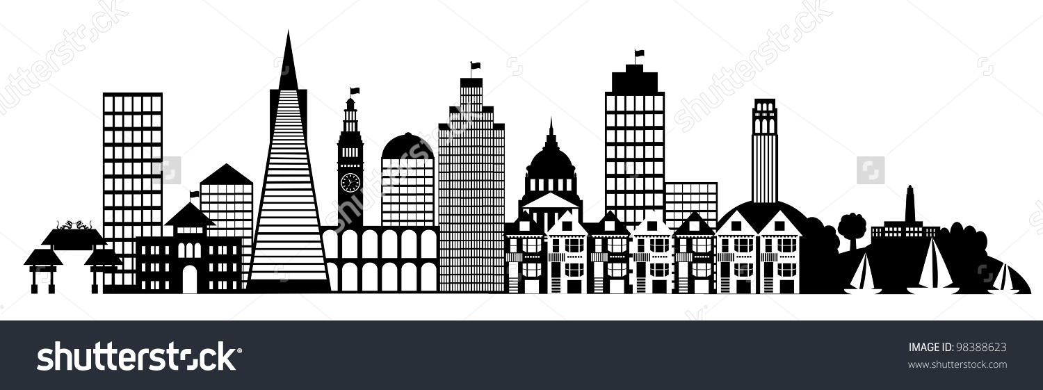 San Francisco City Skyline Panorama Black Stock Illustration.