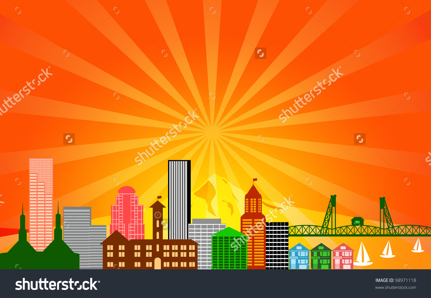 Portland City Oregon Skyline Panorama Color Stock Illustration.