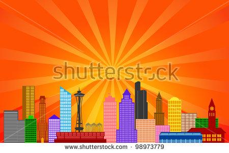 Seattle Washington City Skyline Panorama Color Silhouette With Sun.