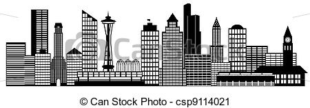 Clipart of Seattle City Skyline Panorama Clip Art.