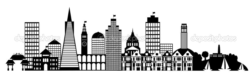 San Francisco City Skyline Panorama Clip Art — Stock Photo.