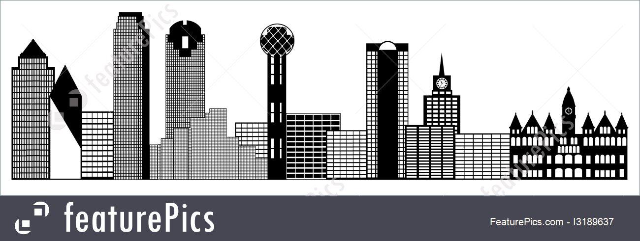 Cityscapes: Dallas City Skyline Panorama Clip Art.