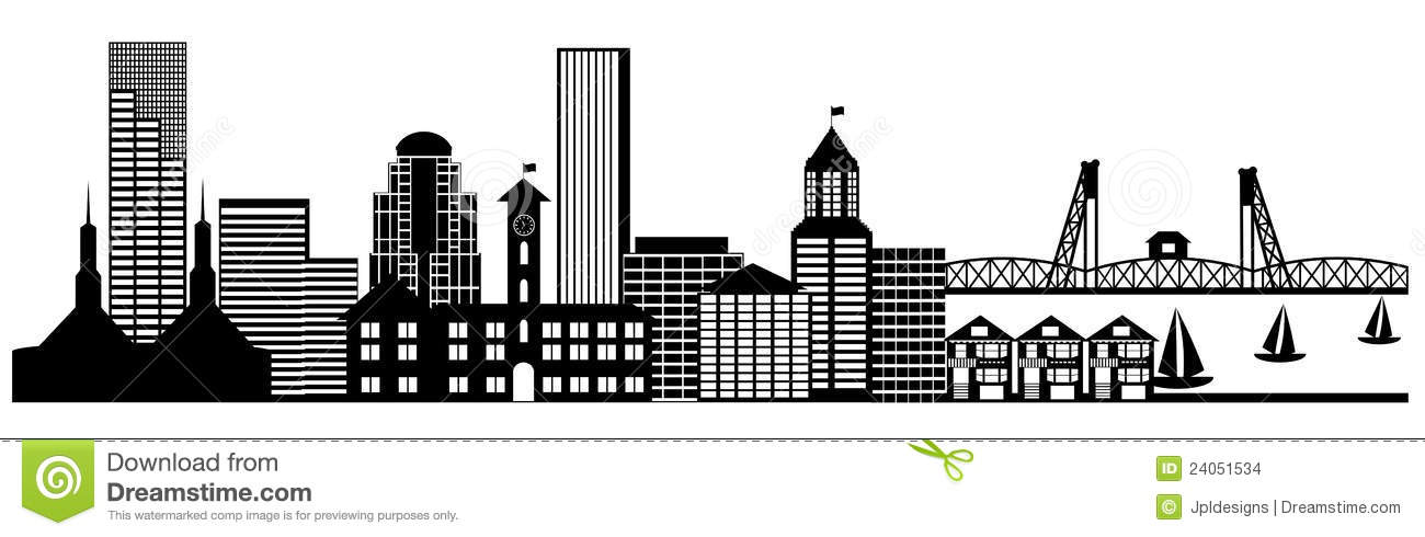 Portland City Skyline Panorama Clip Art Stock Images.