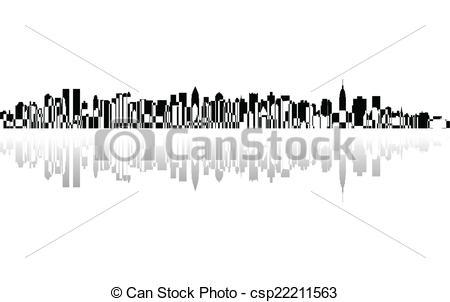 Clip Art Vector of New York City panorama, vector csp22211563.