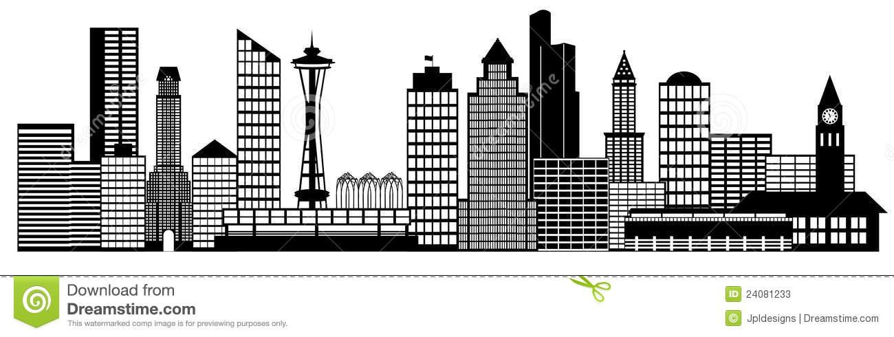 Seattle City Skyline Panorama Clip Art Stock Photos.