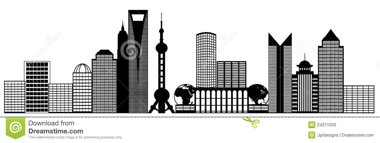 Shanghai City Pudong Skyline Panorama Clip Art Stock Photos.