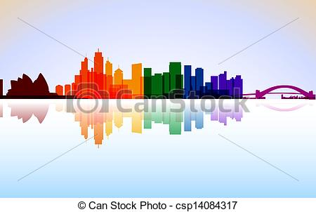 EPS Vector of Colorful City Sydney panorama, vector csp22211646.