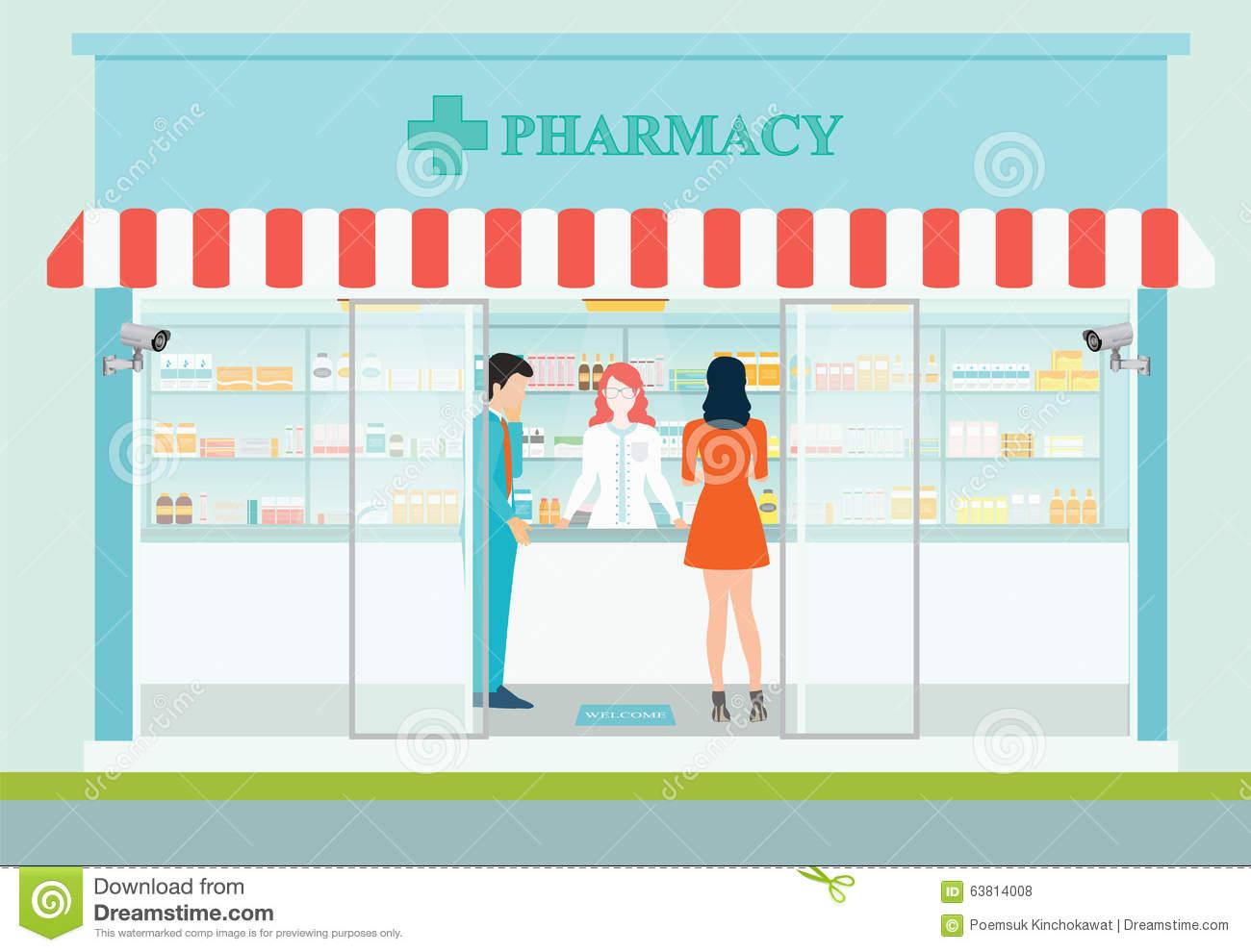 Pharmacy Interior Stock Illustrations.
