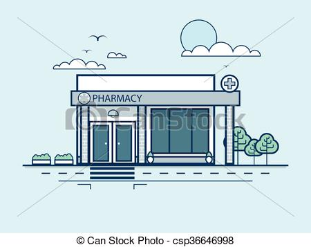 EPS Vectors of city street with pharmacy, modern architecture in.