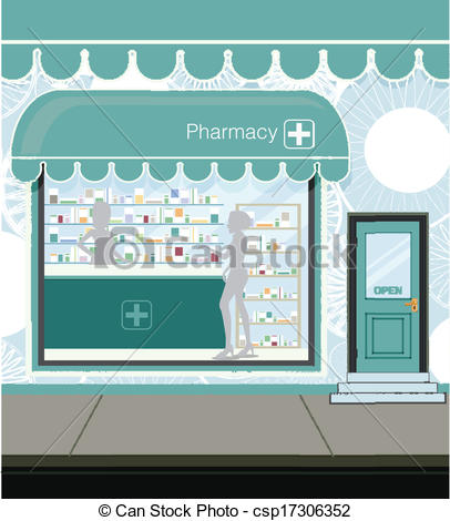 Clipart Vector of Pharmacy at the street in city csp17306352.
