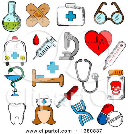 Clipart of Sketched Hospital and Pharmacy Signs, Nurse and.