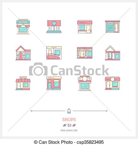 EPS Vectors of City cafe, food and groceries shops, pharmacy and.