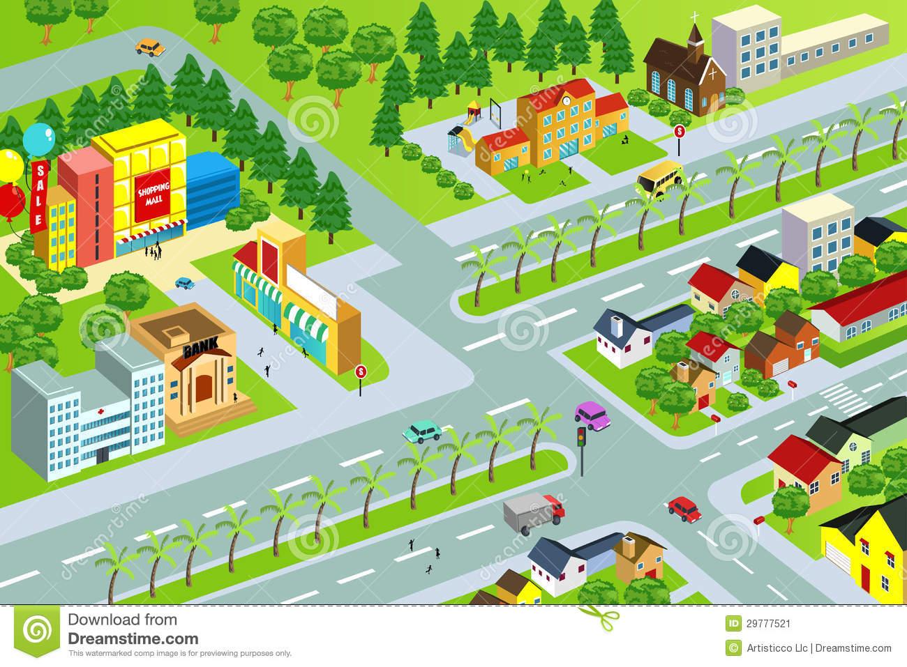 City map stock vector. Illustration of housing, mall.