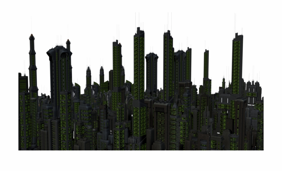 Future City Night Stock With Transparent Background.