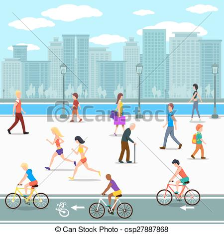 Clip Art Vector of Group of people promenade on city river street.