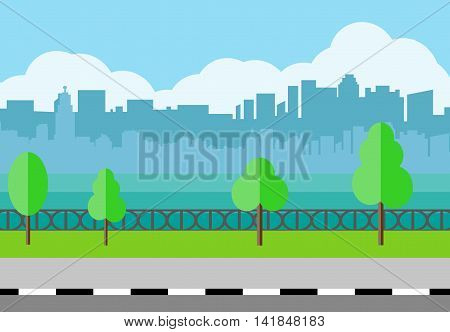 Modern City View. City promenade, Cityscape with office and.