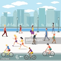 Group of People Promenade on City River Flat Illustration stock.