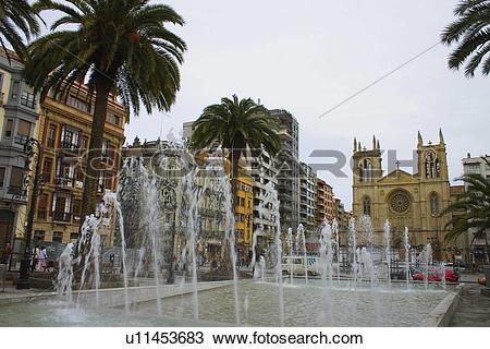 Stock Photo of Spain, Asturias, Gijon, City, Town, Promenade.