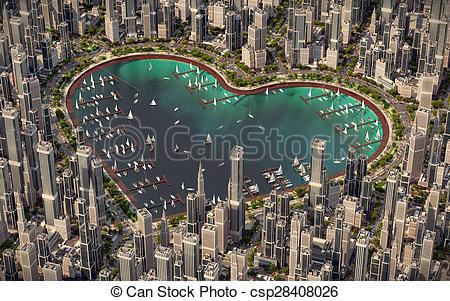 Clip Art of Heart of city.