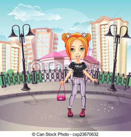 Vectors of Image of the city promenade with a teen girl in jeans.