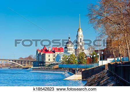Stock Photo of beautiful promenade Russian city of Rybinsk.